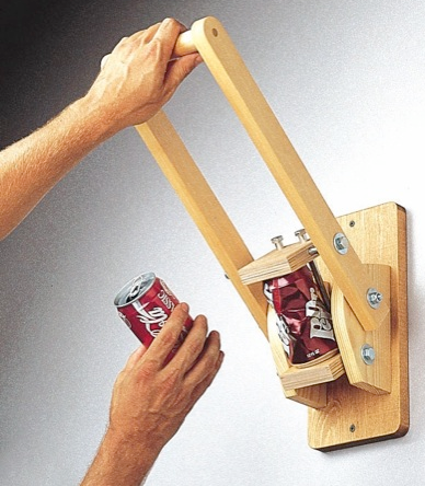 wooden can crusher